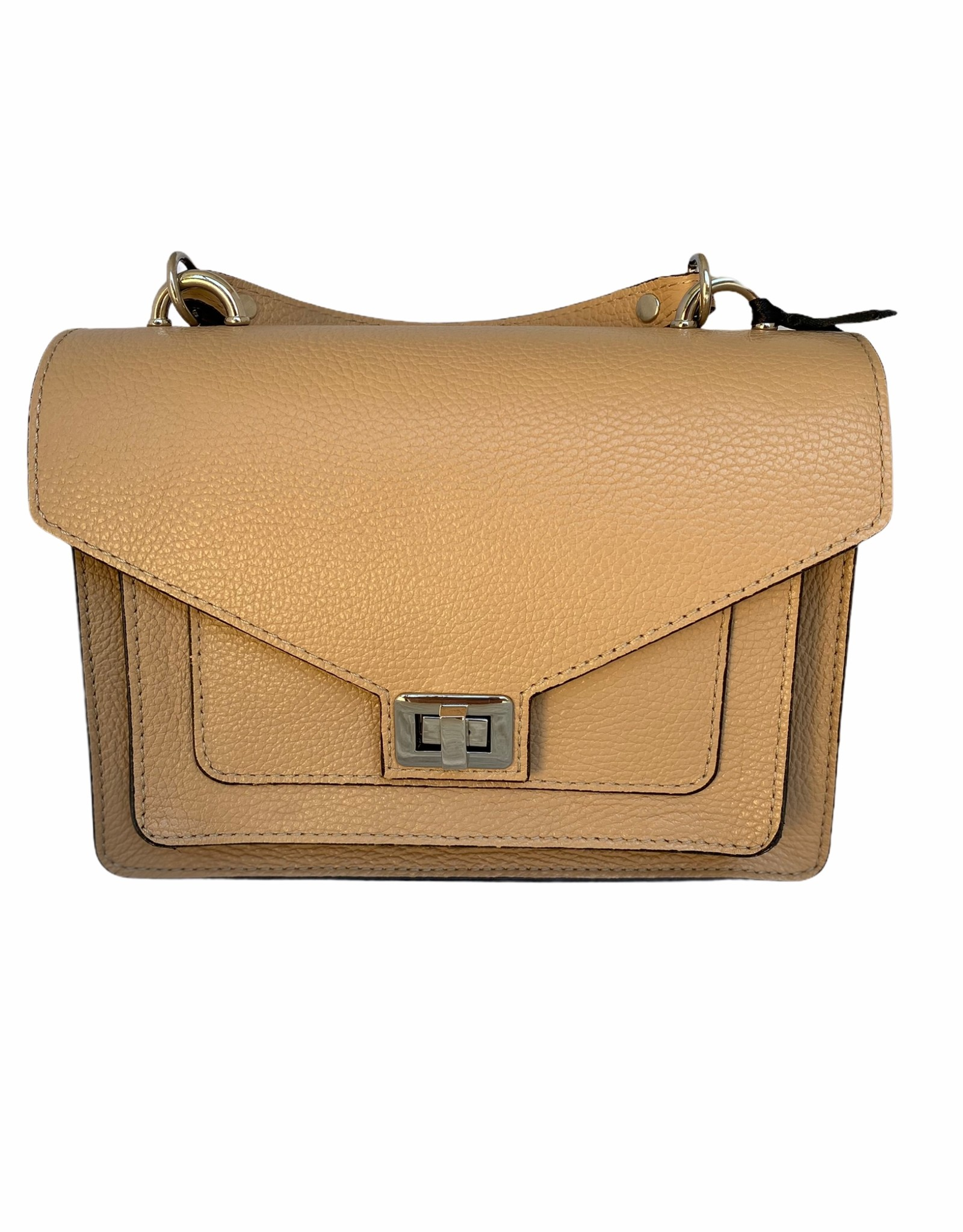 Leather classic bag with handle and long shoulderbelt.