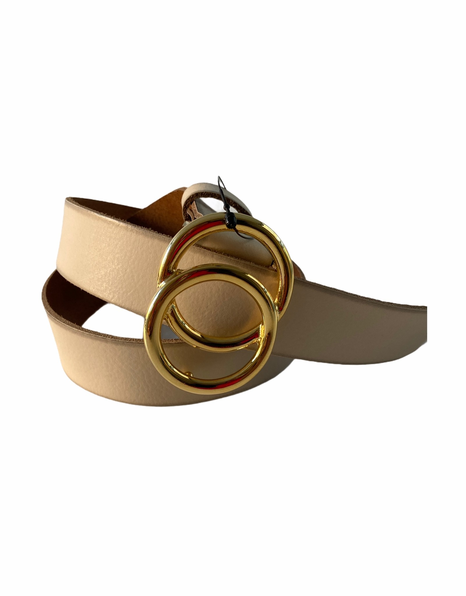 Leather belt with golden buckle
