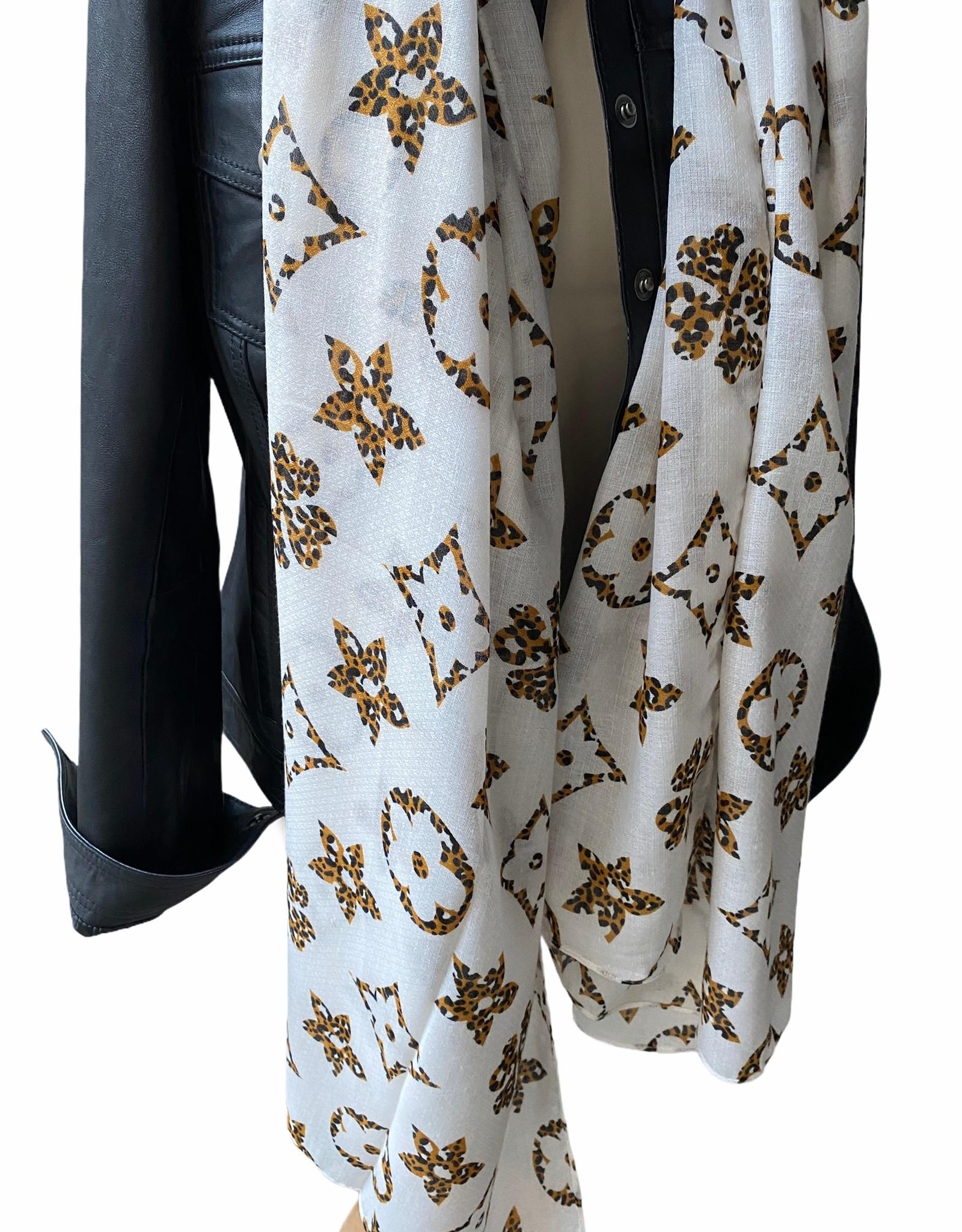 Sjaal wit katoen met brand logo