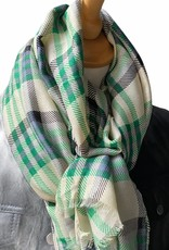 Geruite sjaal katoen met ruiten in groene tinten.