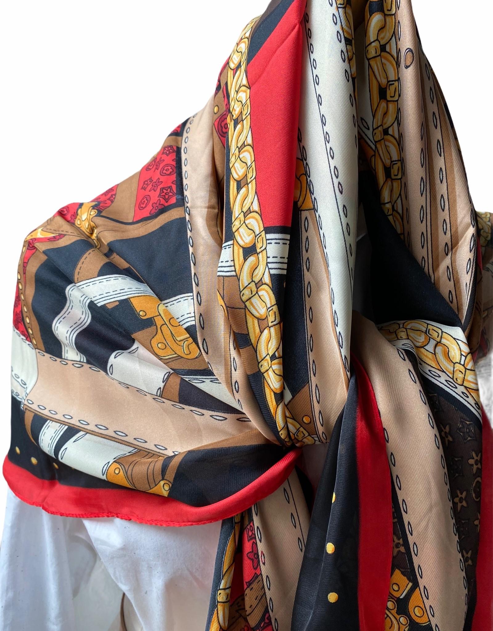 Vierkante sjaal multicolor met rood, camel, oranje en zwart