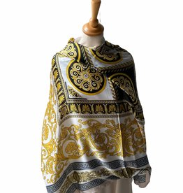 Vierkante sjaal  in satin,  black/yellow and white.