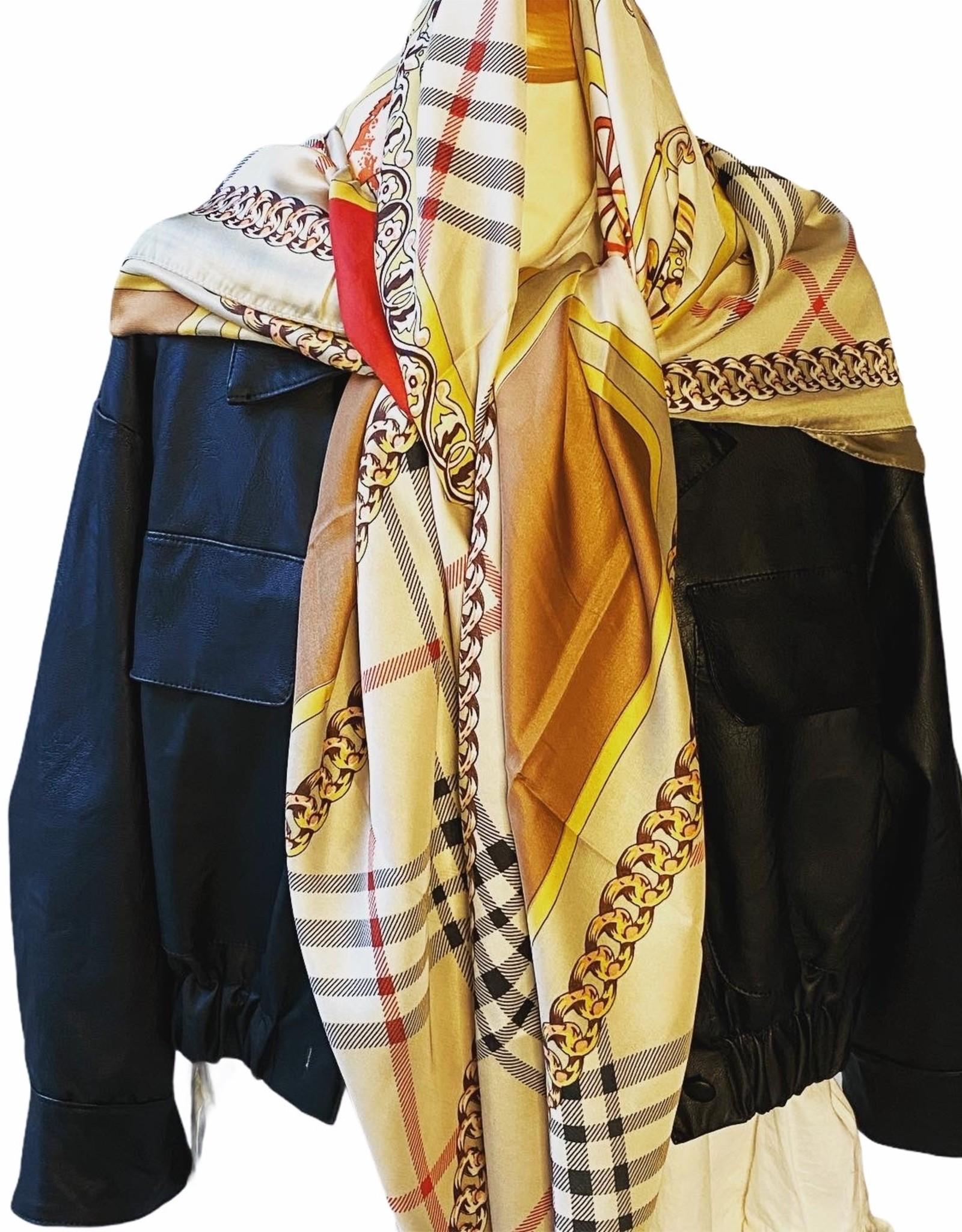 Sjaal geruit met kleuren motief.