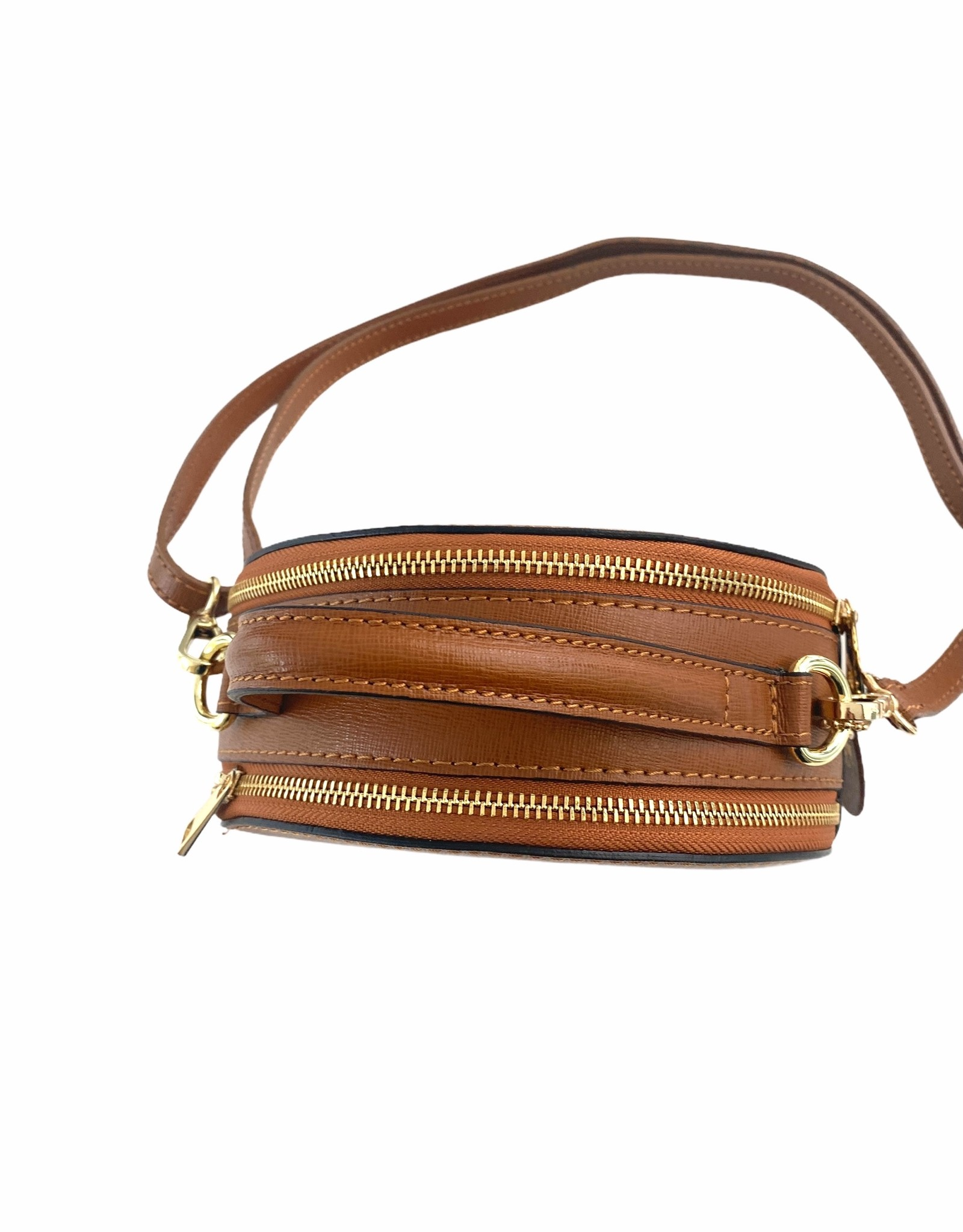 Round leather bag. with two zippers and long shoulderbelt. Headbox model.