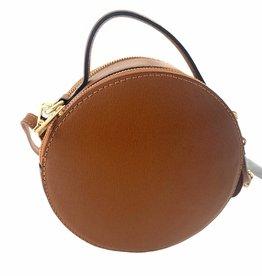 Round leather bag with long shoulderbelt.