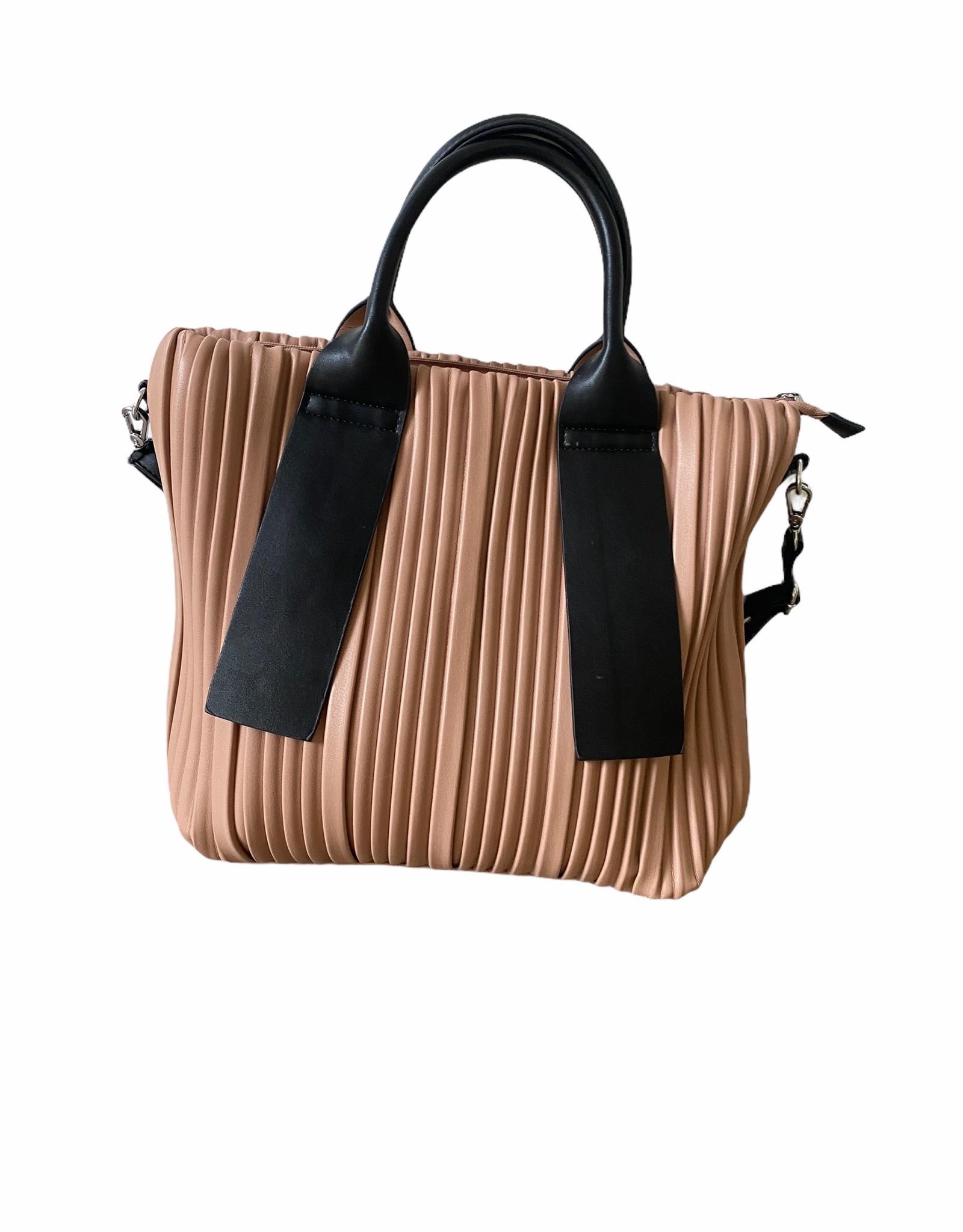 Nude color artificial leather handbag with plissé