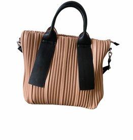 Nude color artificial leather handbag