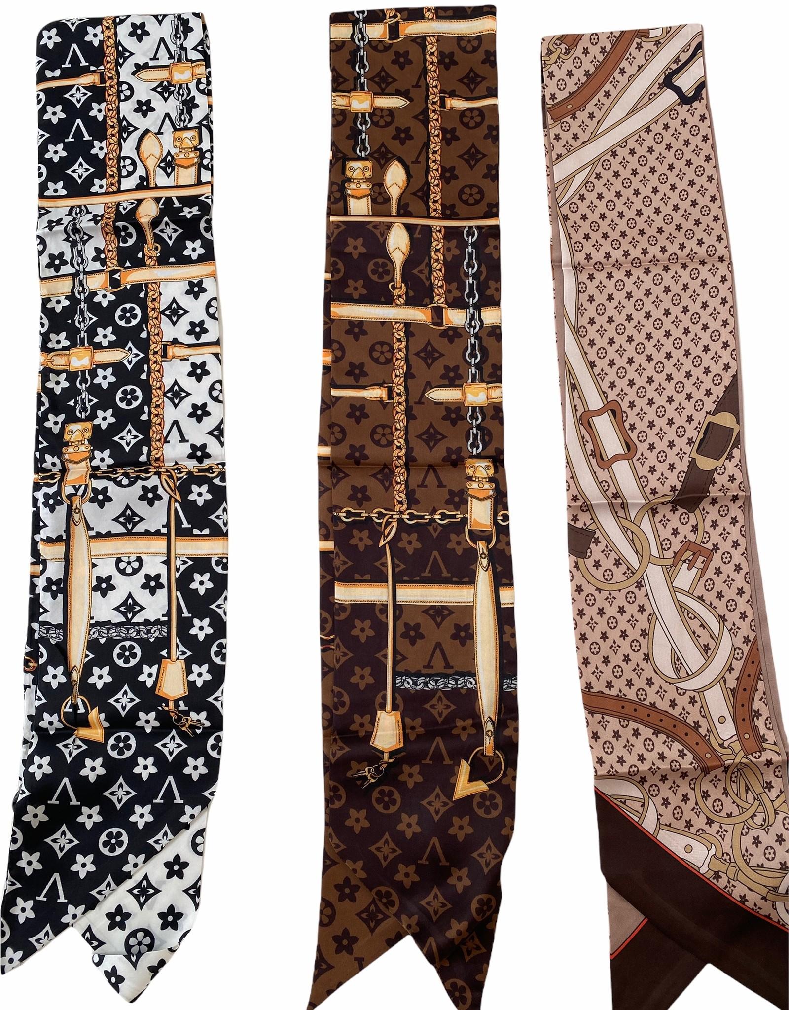 Multifunctional, silk scarf with brand logo