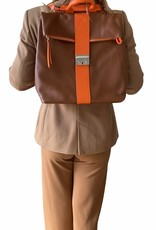 Two in one handbag/backpack in leather, in two colors