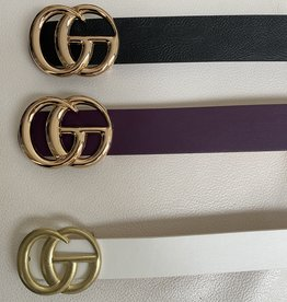 Artificial leather belt with brand golden buckle