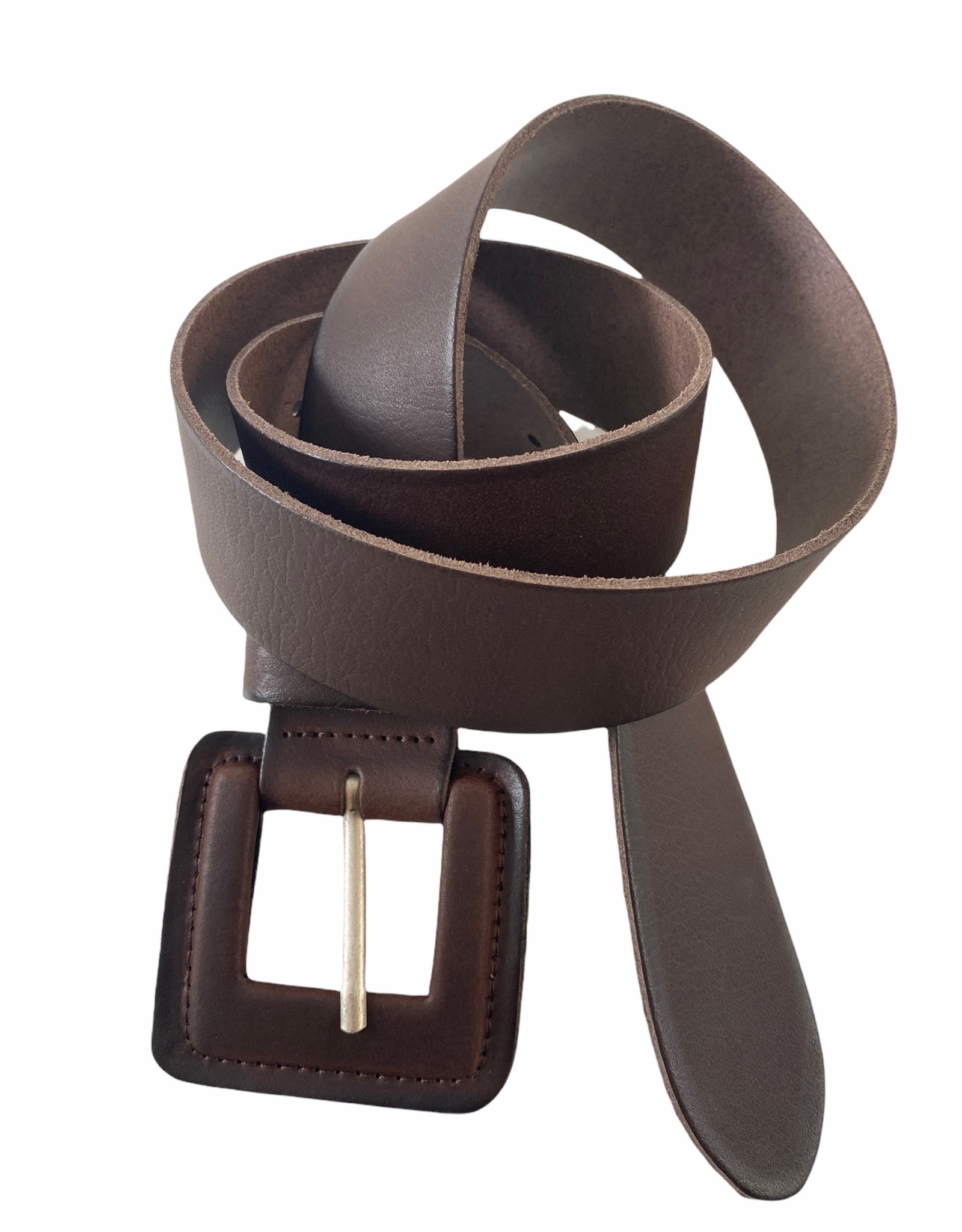 Leather belt with same leather buckle.