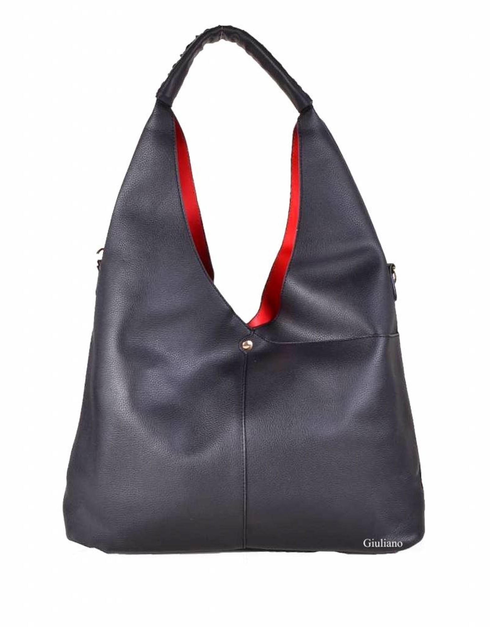Handtas kunstleder met rode binnenkant.  Twee zakjes aan de buitenkant met kleine tas binnenin