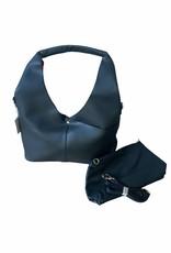 Black artificial leather bag with red color inside, little bag with shoulderbelt inside