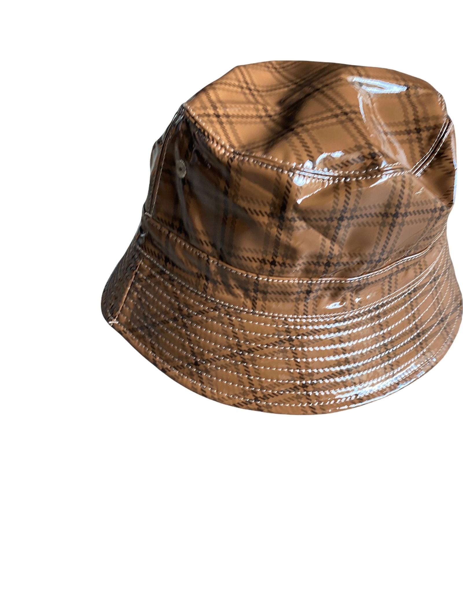 Checkered buckethat rainfabric