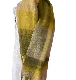 Geruite dikke sjaal, gele tinten, licht roze en kaki