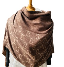 Soft scarf with fringles, brand logo; brown/beige with fringles