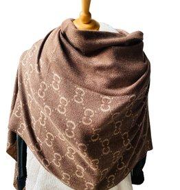 Zachte sjaal met franjes, brand logo, bruin/beige tinten