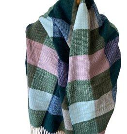 Checkered woven scarf, green, purple, blue, lila