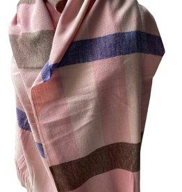 Zachte sjaal met roze, paars, beige en bruin met franjes