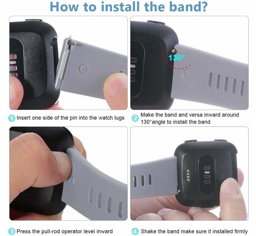 Strap-it® Fitbit Versa silicone band (zwart)