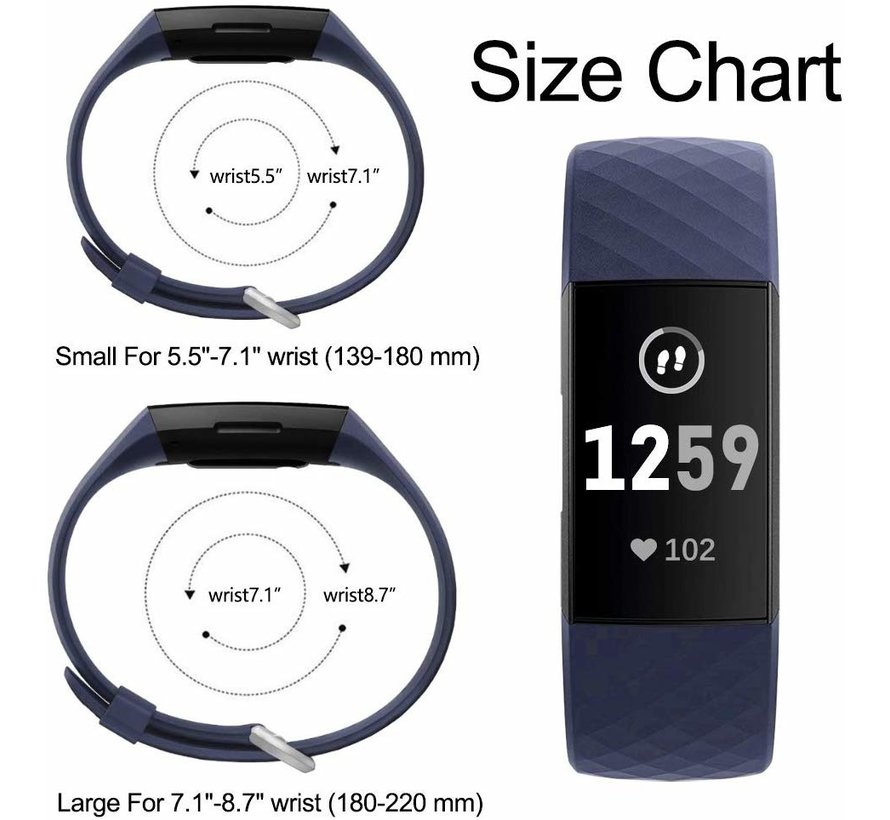 Strap-it® Fitbit Charge 3 silicone band (donkerblauw)