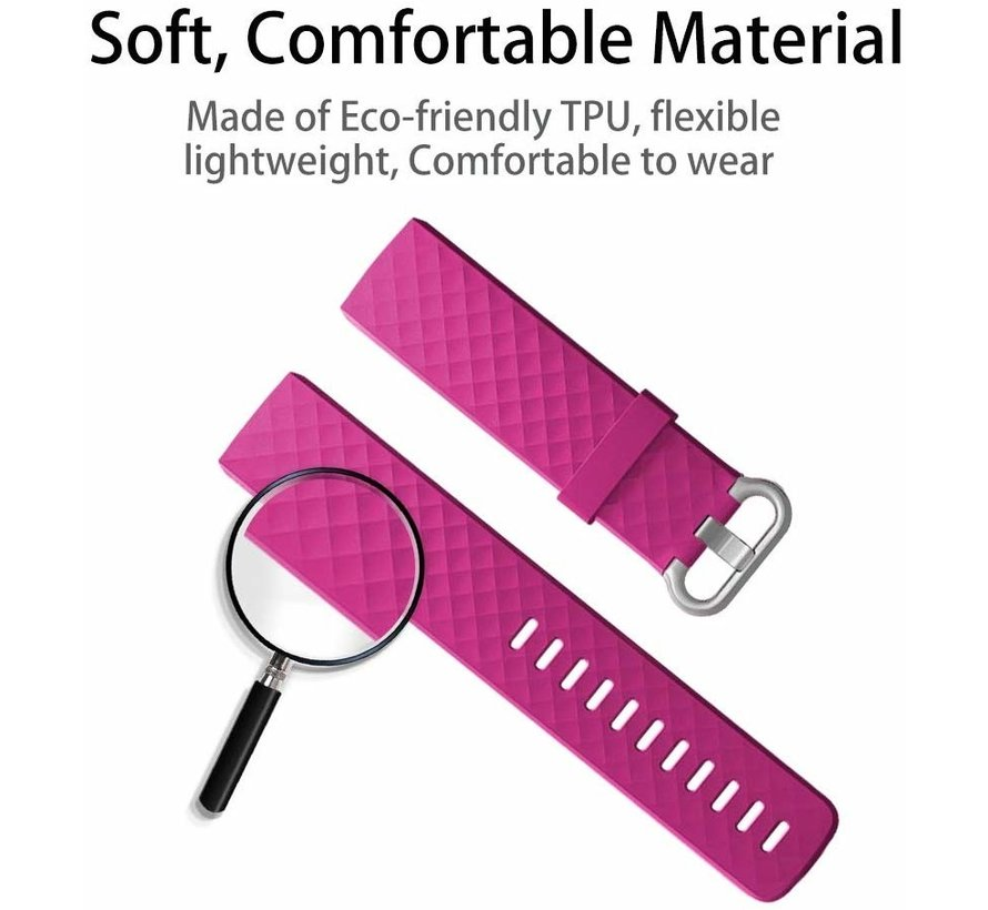 Strap-it® Fitbit Charge 3 silicone band (fel roze)