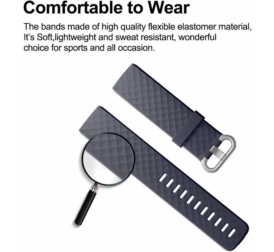 Strap-it® Fitbit Charge 3 silicone band (grijsblauw)