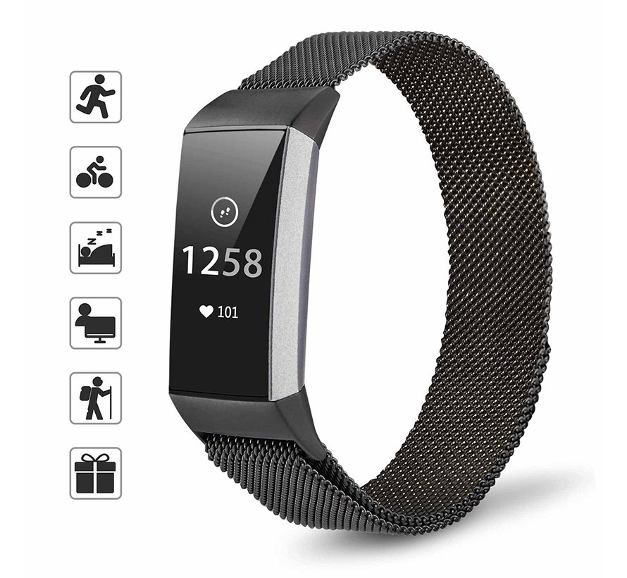 Strap-it® Fitbit Charge 3 Milanese band (zwart)