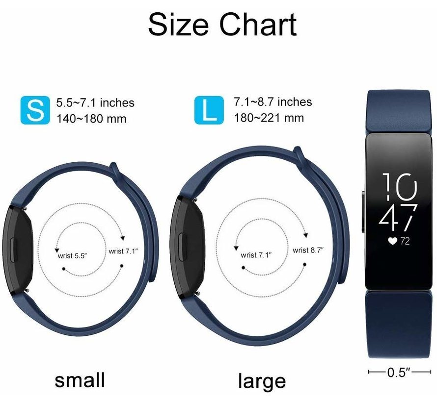 Strap-it® Fitbit Inspire  silicone band (blauw)