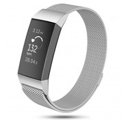 Strap-it® Fitbit Charge 3 Milanese band (zilver)