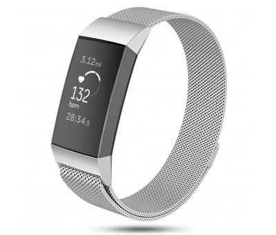 Strap-it® Strap-it® Fitbit Charge 3 Milanese band (zilver)