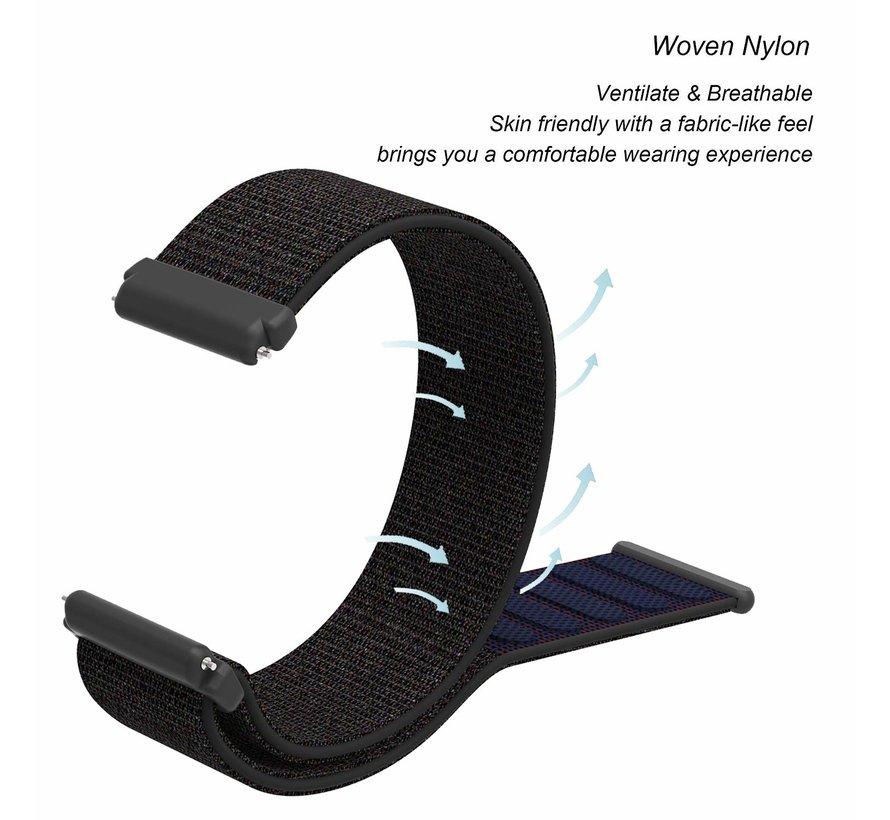 Strap-it® Fitbit Versa nylon bandje (zwart)