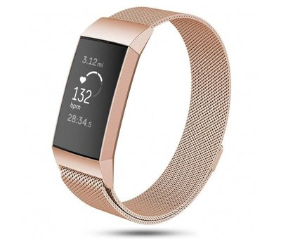 Strap-it® Strap-it® Fitbit Charge 3 Milanese band (rosé goud)