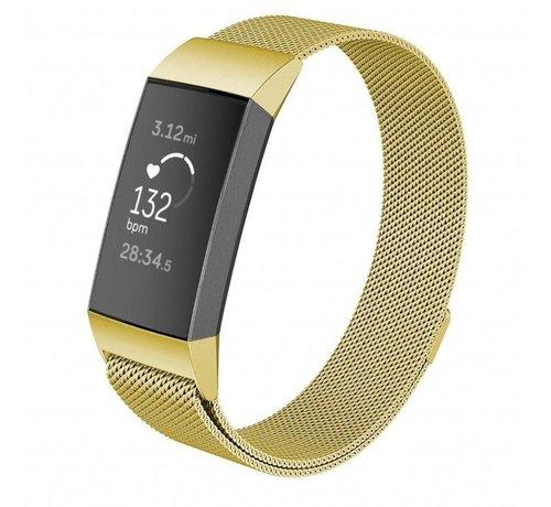 Strap-it® Strap-it® Fitbit Charge 3 Milanese bandje (goud)