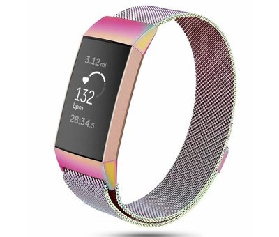 Strap-it® Strap-it® Fitbit Charge 3 Milanese band (regenboog)