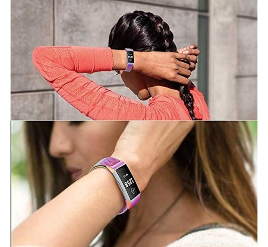 Strap-it® Fitbit Charge 3 Milanese band (regenboog)