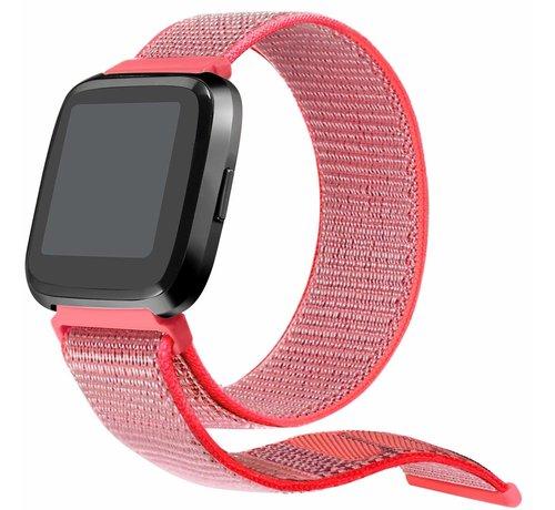 Strap-it® Strap-it® Fitbit Versa nylon bandje (knalroze)