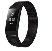 Strap-it® Fitbit Charge 3 nylon bandje (zwart)