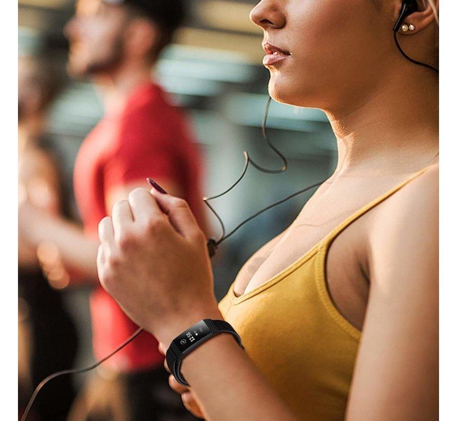 Strap-it® Fitbit Charge 3 nylon bandje (zwart)