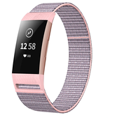 Strap-it® Fitbit Charge 3 nylon bandje (roze)