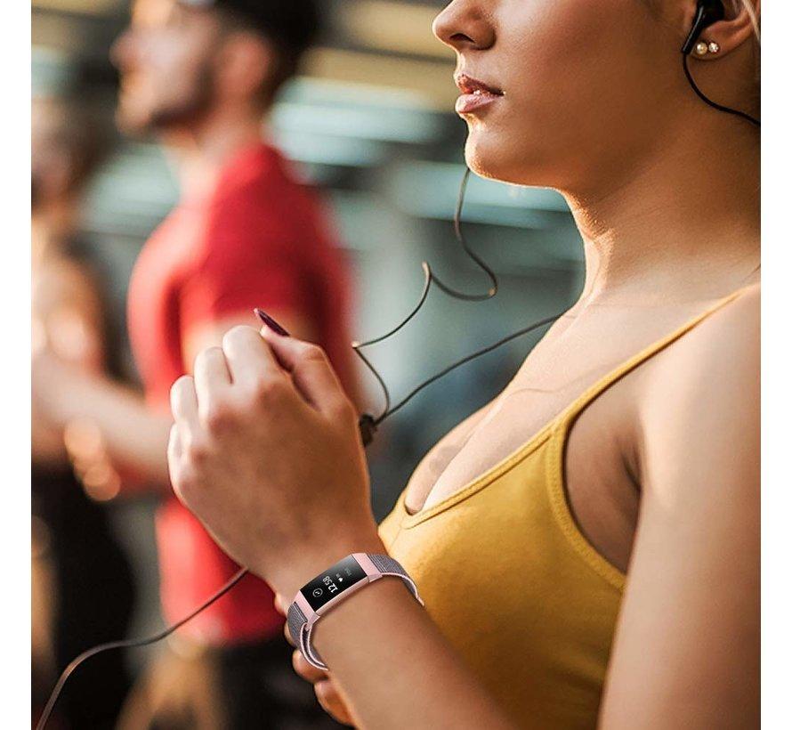 Strap-it® Fitbit Charge 3 nylon bandje (roze)