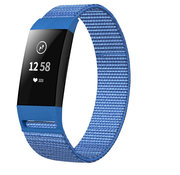 Strap-it® Fitbit Charge 3 nylon bandje (blauw)