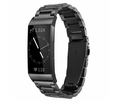 Strap-it® Strap-it® Fitbit Charge 3 stalen bandje (zwart)