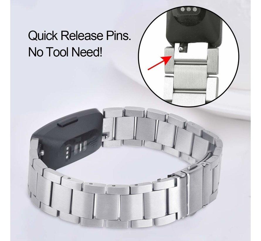 Strap-it® Fitbit Inspire stalen bandje (zilver)