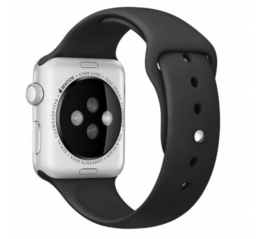 Strap-it® Apple Watch silicone bandje (zwart)