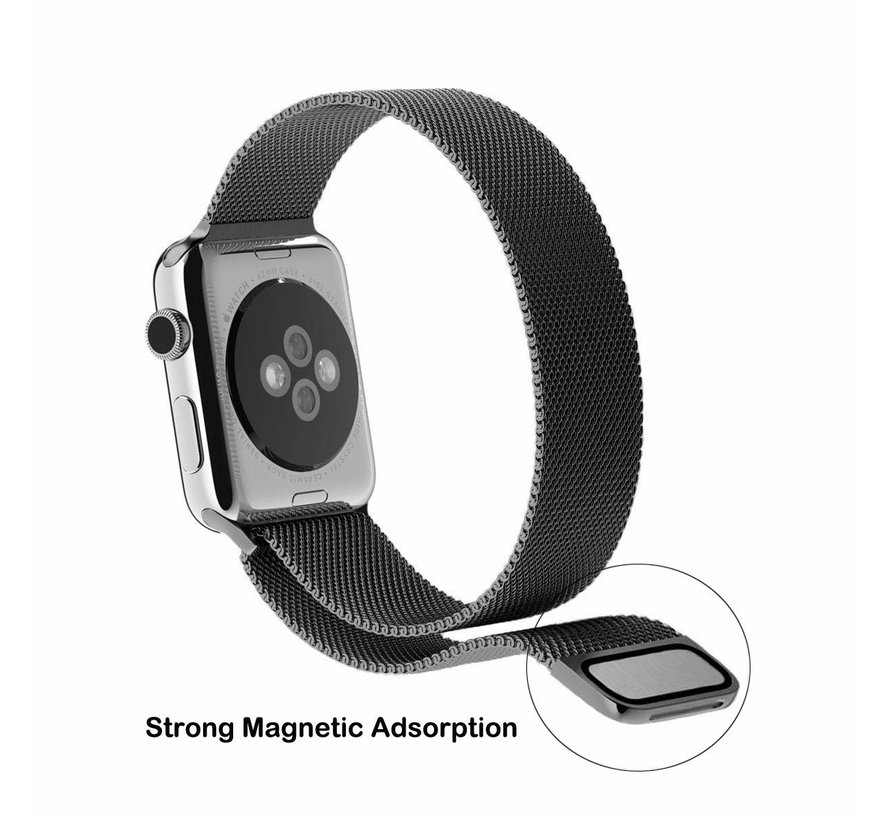 Strap-it® Apple Watch Milanese  bandje (zwart)