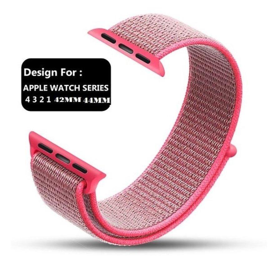 Strap-it® Apple Watch nylon loop band (roze)