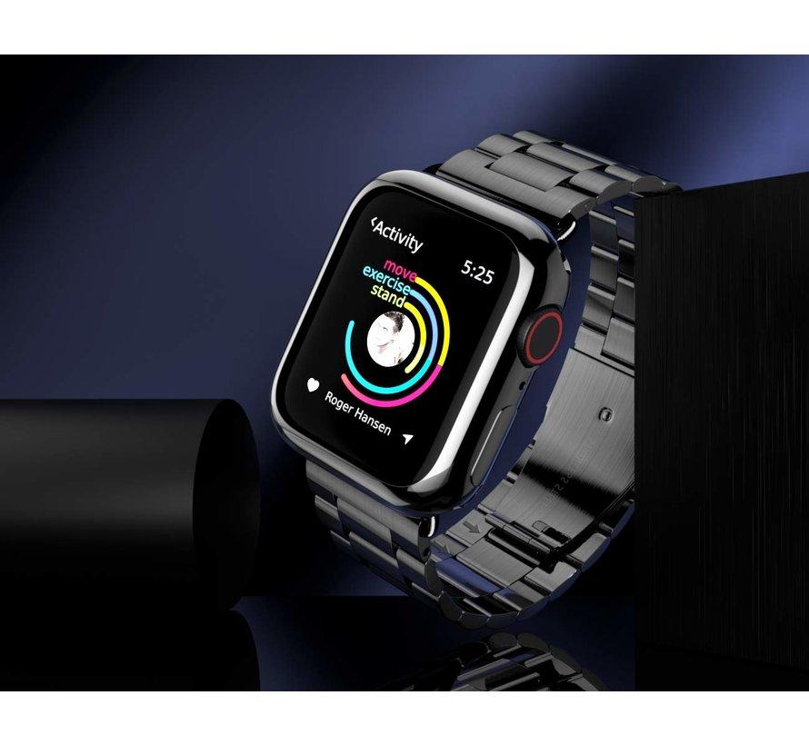 Strap-it® Apple Watch stalen band (zwart)