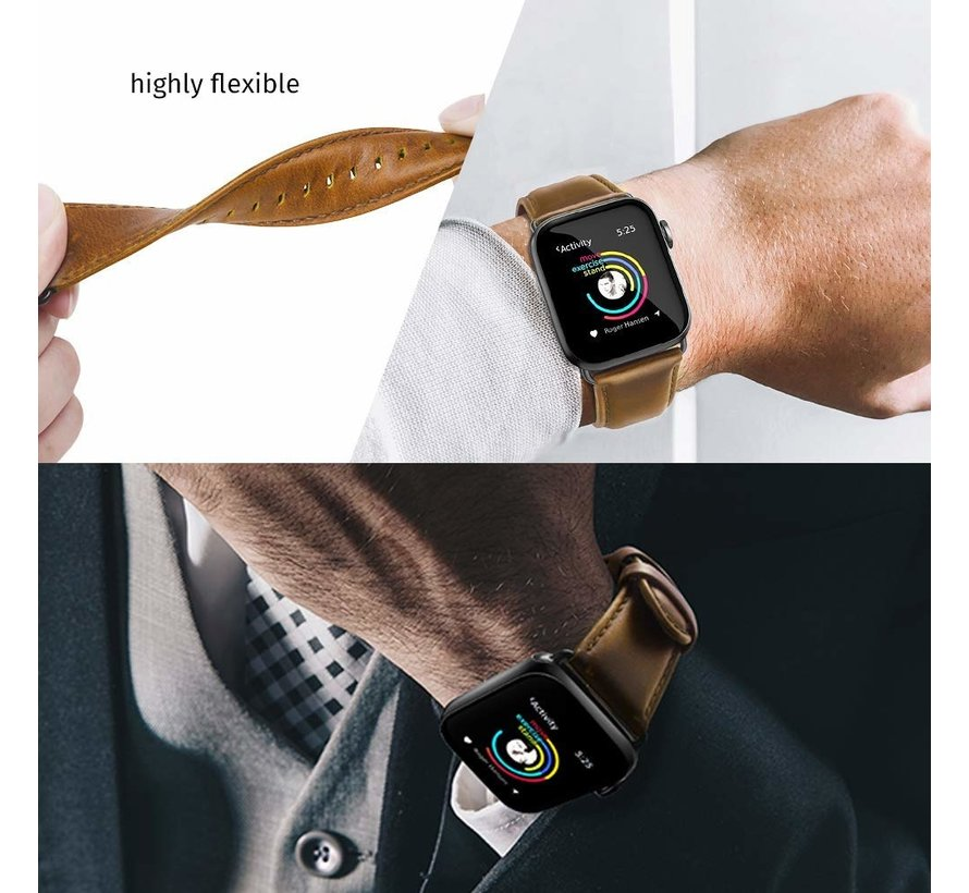 Strap-it® Apple Watch leren bandje (bruin)