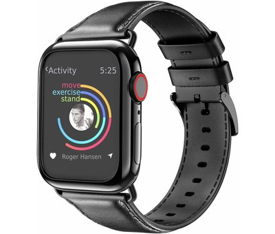 Strap-it® Strap-it® Apple Watch leren band (zwart)